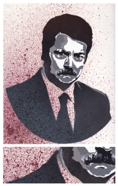 - RON SWANSON - spray paint multi-layer stencil on bristol board 12x18