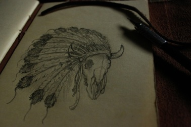 native sketch bull and bonnet
